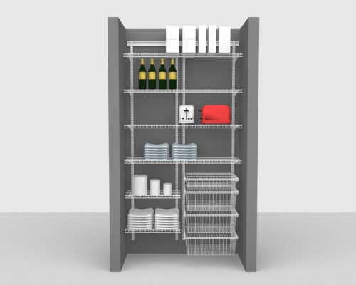 Adjustable Package 2 - ShelfTrack with CloseMesh shelving up to 1,22m/ 4' wide