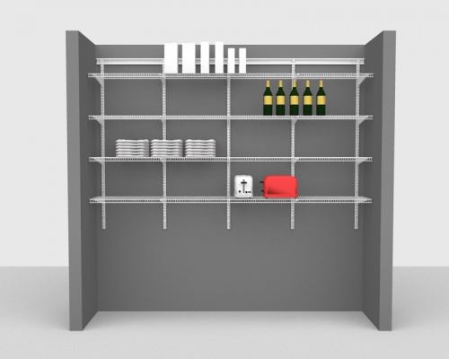 Adjustable Package 3 - ShelfTrack with CloseMesh shelving up to 2,44m/ 8' wide