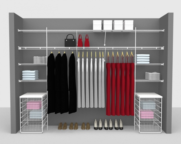 Fixed Mount Package 5 - Shelf & Rod shelving up to 3,05m/ 10' wide