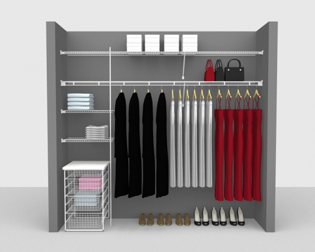 Fixed Mount Package 5 - Shelf & Rod shelving up to 2,44m/ 8' wide