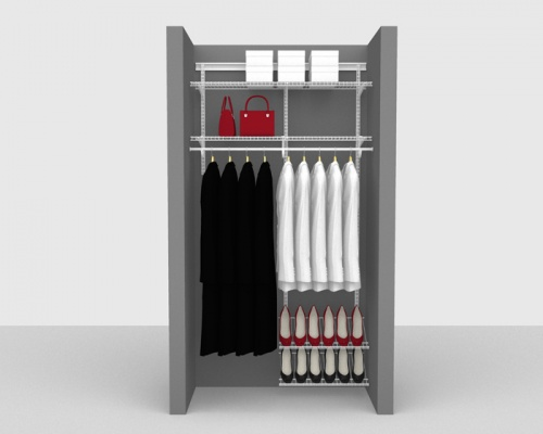 Adjustable Cloakroom Package 2 - ShelfTrack with SuperSlide shelving up to 1,22m/ 4' wide