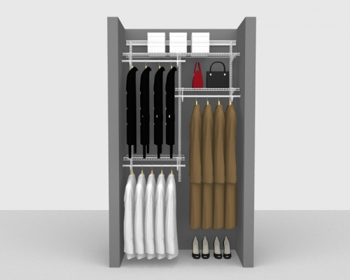 Adjustable Cloakroom Package 3 - ShelfTrack with SuperSlide shelving up to 1,22m/ 4' wide