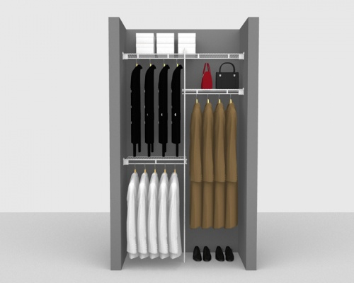 Fixed Mount Cloakroom Package 3 - Shelf & Rod shelving up to 1,22m/ 4' wide
