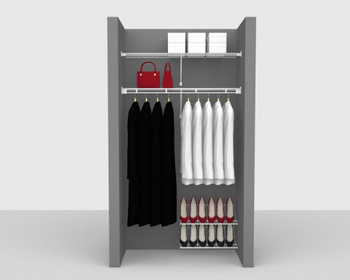 Fixed Mount Cloakroom Package 2 - Shelf & Rod shelving up to 1,22m/ 4' wide