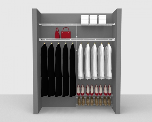 Fixed Mount Cloakroom Package 2 - Shelf & Rod shelving up to 1,83m/ 6' wide