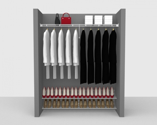 Fixed Mount Cloakroom Package 1 - Shelf & Rod shelving up to 1,83m/ 6' wide