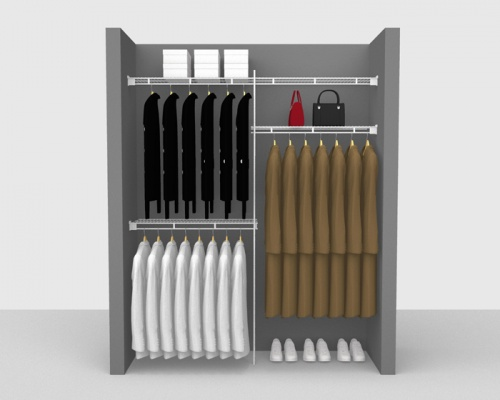 Fixed Mount Cloakroom Package 3 - Shelf & Rod shelving up to 1,83m/ 6' wide