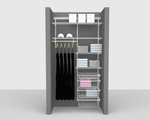 Adjustable Package 5 - ShelfTrack with Linen shelving up to 1,22m/ 4' wide