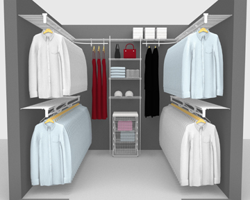 Walk In Wardrobe Packages - Between 6'/ 1.83m and 8'/ 2.44m Square