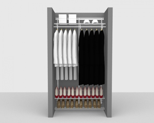 Adjustable Cloakroom Package 1 - ShelfTrack with SuperSlide shelving up to 1,22m/ 4' wide