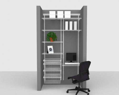 Adjustable Office Package 3 - ShelfTrack with Linen shelving up to 1,22m/ 4' wide