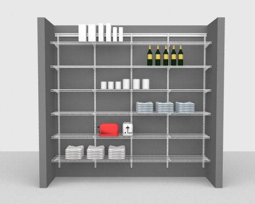 Adjustable Package 1 - ShelfTrack with CloseMesh shelving up to 2,44m / 8' wide