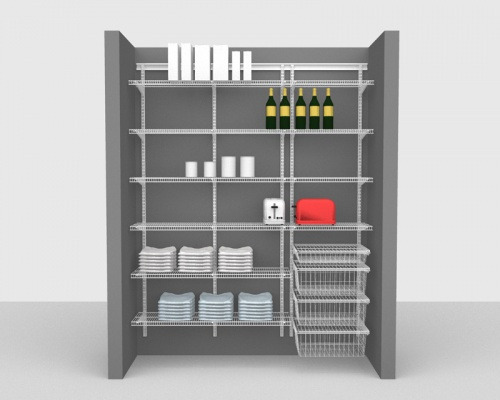 Adjustable Package 2 - ShelfTrack with CloseMesh shelving up to 1,83m / 6' wide