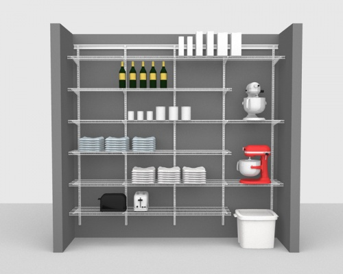 Adjustable Package 4 - ShelfTrack with CloseMesh shelving up to 2,44m/ 8' wide