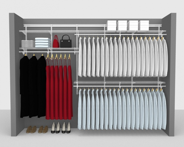 Adjustable Package 1 - ShelfTrack with SuperSlide shelving up to 2,74m/ 9' wide