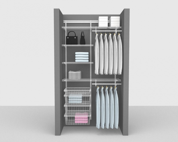 Adjustable Package 4 - ShelfTrack with SuperSlide shelving up to 1,22m/ 4' wide