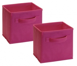 1504 - 2 Pack Mini Fabric Drawers Fuchsia