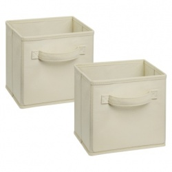 1571 - 2 Pack Mini Fabric Drawers Natural