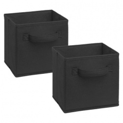 1583 - 2 Pack Mini Fabric Drawers Black