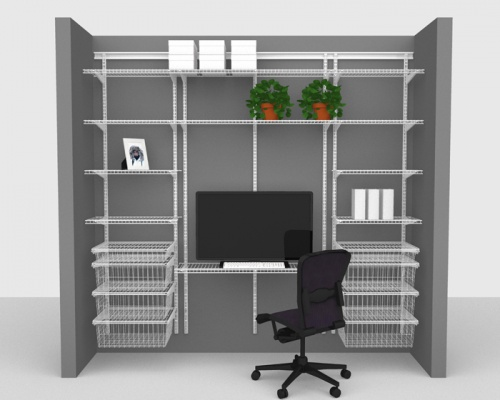 Adjustable Office Package 3 - ShelfTrack with Linen shelving up to 2,44m/ 8' wide