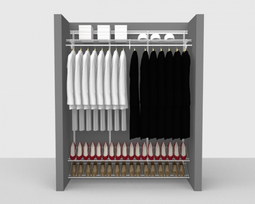 Adjustable Cloakroom Package 1 - ShelfTrack with SuperSlide shelving up to 1,83m/ 6' wide