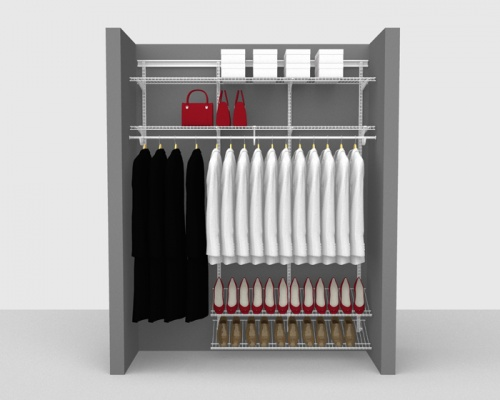 Adjustable Cloakroom Package 2 - ShelfTrack with SuperSlide shelving up to 1,83m/ 6' wide