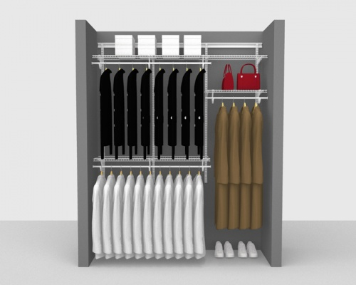 Adjustable Cloakroom Package 3 - ShelfTrack with SuperSlide shelving up to 1,83m/ 6' wide