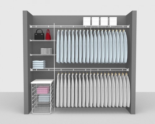 Fixed Mount Package 4 - Shelf & Rod shelving up to 2,44m/ 8' wide