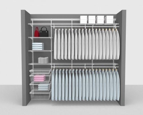 Adjustable Package 4 - ShelfTrack with SuperSlide shelving up to 2,44m/ 8' wide